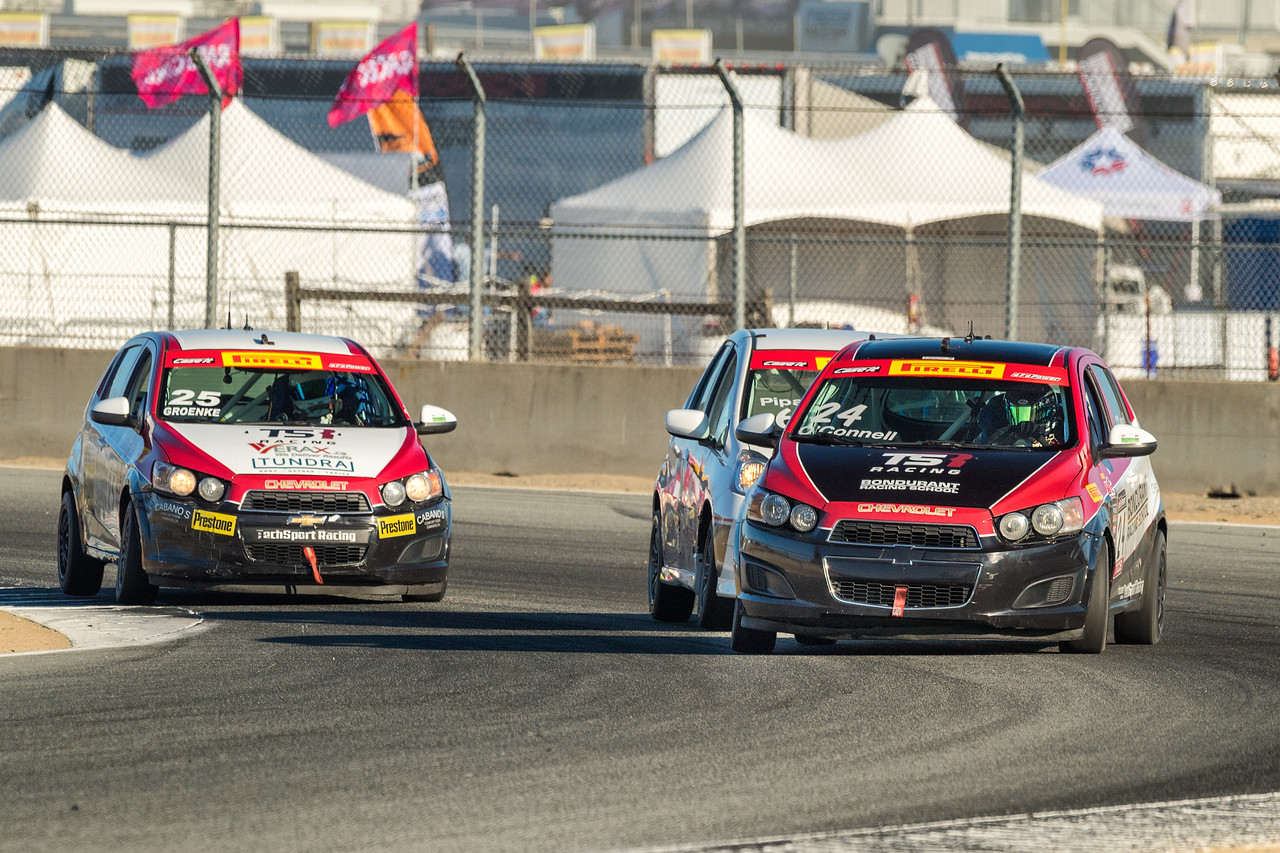Caanan O'Connell slides the Chevy Sonic through Turn 4