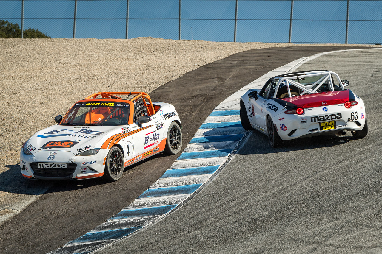 Mazda MX-5 Cup - Robby Foley gets spun with a tap from Bryan Ortiz