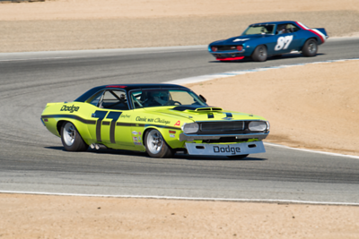 1970 Challenger exits Turn 2 ahead of Alexander Motola's 1969 Z28