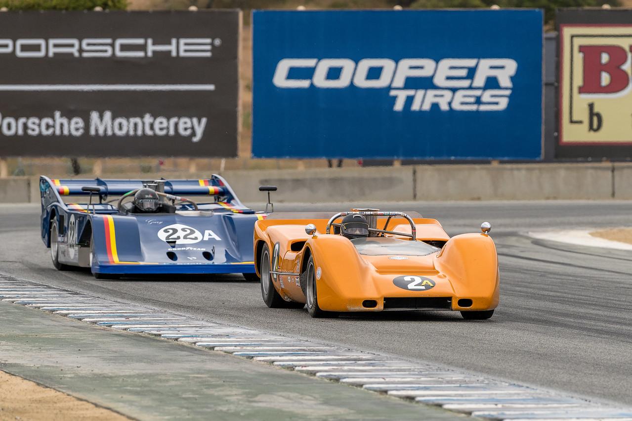Robert Ryan 1968 McLaren M6B leads Scott Drnek 1974 Sting GW1