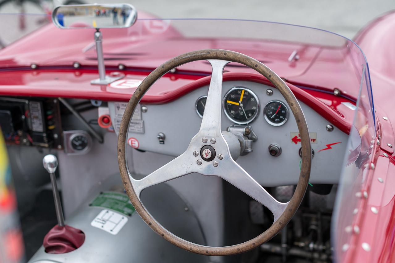 Old school: wooden steering wheel on Ned Spieker's Maserati