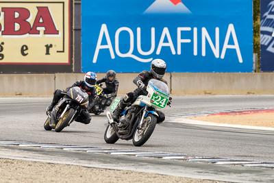 Russ Granger 1980 Suzuki GS1000S leads Rick Redick 1988 Honda NT650GT