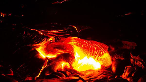 Lava Flowing from Kilauea Volcano in Hawaii