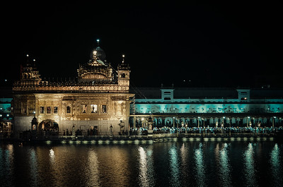 The Golden Temple by night. Still so many people waiting to enter