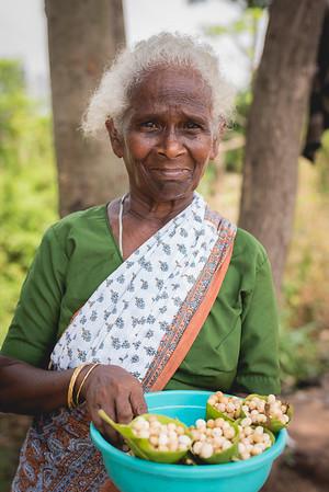 Village lady selling seasonal wild Zunna berries by the road side