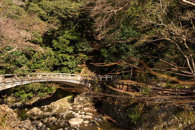 Water, bridge, greens - classic of Japanese trekking forest