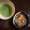 Warabi mochi and thick green tea