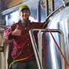 Kevin uses CO2 to push the cider from the keg into the whirlpool kettle.