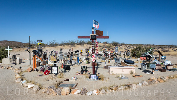 Husky Monument (Huskey Memorial) near Cuddeback Lake in the Mojave Desert.