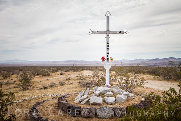 Memorial along Highway 14 marks the location where Father John J Crowley died when his car hit a steer in the highway. Father Crowley was a well-known and loved figure who devoted his life to restoring the Owens Valley communities after the water supply was diverted to Los Angeles. Father Crowley Visa Point in Death Valley National Park and Crowley Lake in Mono County were named after him.