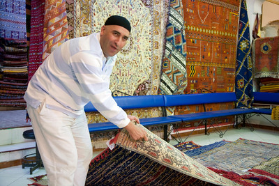 Traditional carpet seller, medina or old town of Tetouan, northern Morocco, Africa