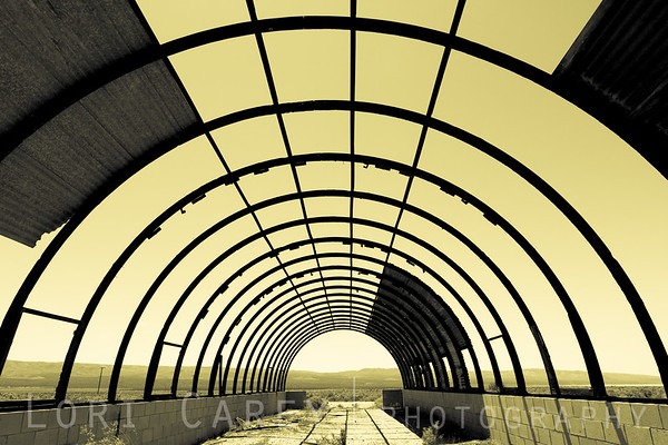 Abandoned quonset hut in the Mojave desert