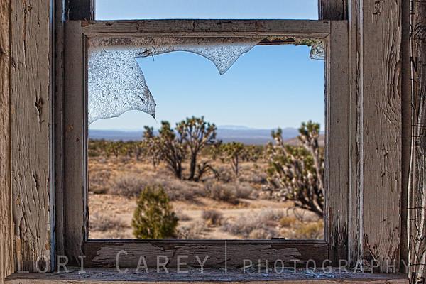 View through broken window at Riley's Camp