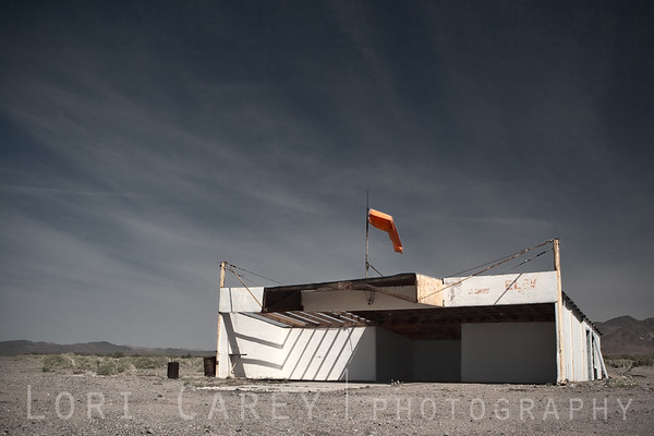 T-hangar with windsock at the old Amboy Airport on Route 66 in Amboy, California