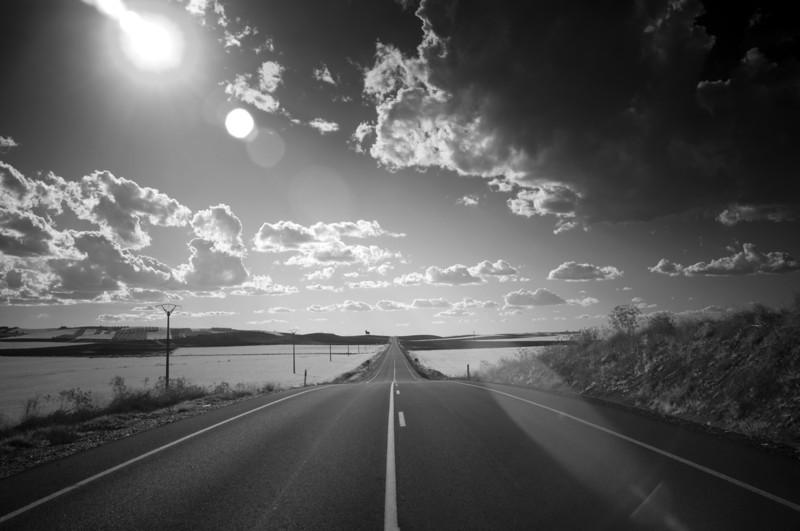 Infrared image of a lonesome road, Sanlucar la Mayor, Seville, Spain