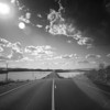 Infrared image of a lonesome road, Sanlucar la Mayor, Seville, Spain