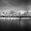 Infrared image of the Gualdalquivir river bank from Triana Bridge (left) to the Golden Tower (right), Seville, Spain. High resolution panorama.