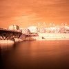 Infrared image of Triana Bridge and Guadalquivir river, Seville, Spain