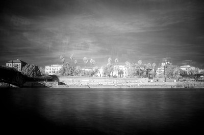 Infrared and double exposure image of the Guadalquivir river in Seville, Spain