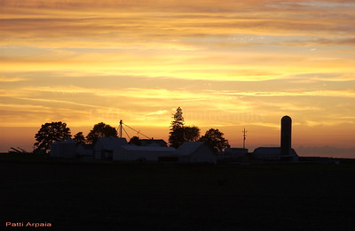 Silo at sunset.