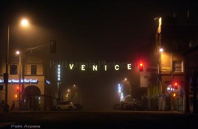 Foggy night in Venice, CA