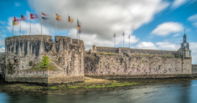 Ville Close (medieval town) of Concarneau (Breton: Konk-Kerne, meaning Bay of Cornwall) a commune in the Finistère department of Brittany in north-western France.