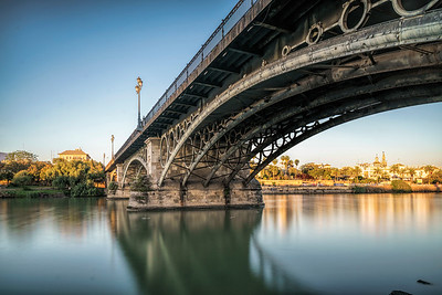 Triana bridge, Seville, Spain. Long exposure shot.