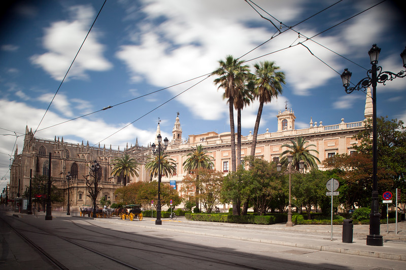 Archivo de Indias (right) and Cathedral (left), Seville, Spain