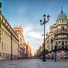 Avenida de la Constitucion, pedestrian street in Seville city center. Long exposure shot.