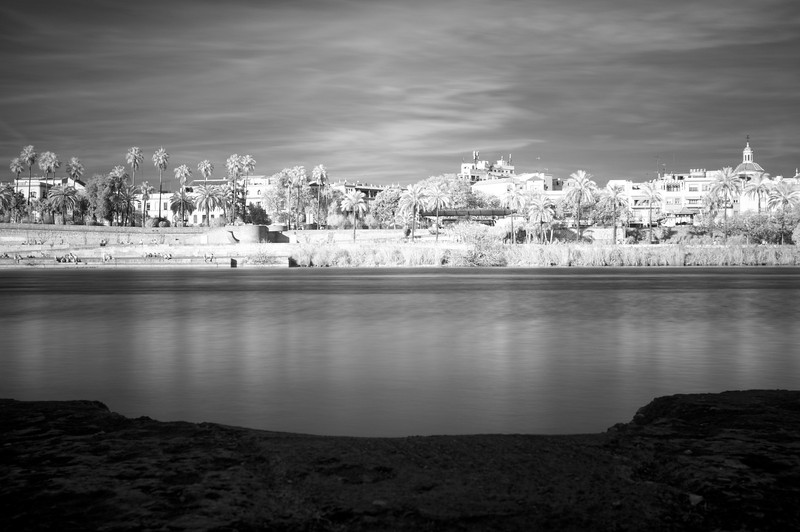 Infrared image of the Guadalquivir river bank, Seville, Spain
