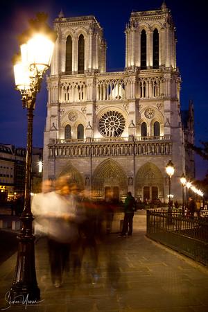 Night over the Notre Dame de Paris, Paris, France