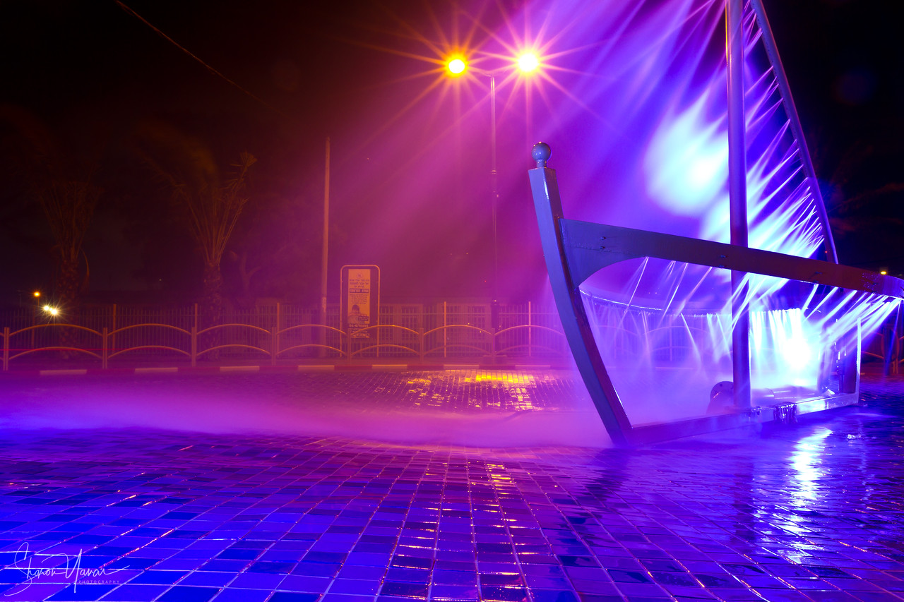 Night on the Ship Fountain, Kiryat Yam, Israel