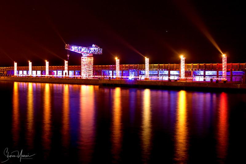 Menora at the Festival of lights, Tel-Aviv Harbor, Tel-Aviv, Israel