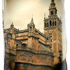 The Giralda Tower and the Cathedral (south-east view),  Seville, Spain. Taken with tilted lens to get shallower depth of field and digitally edited to look like an old print.