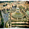 View of the roof of the Cathedral from the top of the Giralda tower, Seville, Spain. Tilted lens used for a shallower depth of field.