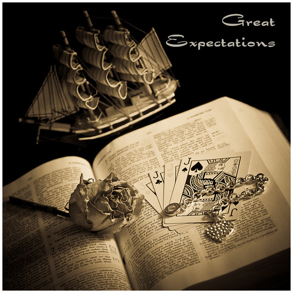 Day 138: Great Expectations<br /> For his English project on Great Expectations by Dickens, Alex created a CD with music that he felt expressed the major characters in the novel.  He also selected objects that related to the theme in the storyline, arranged them and asked me to photograph it.  I thought this was really creative.  I adjusted the lighting a little, made the image and processed it with a sepia tone for the final album cover.