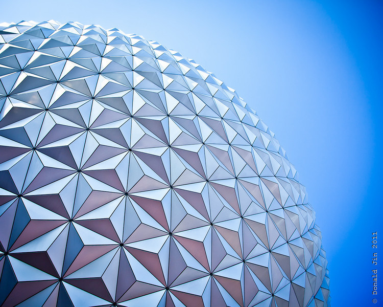 Day 257: Under the Geodesic<br /> Day 3 of our Orlando vacation was spent at Disney Epcot.  I have to say, of all the theme parks at Disney and Universal, Epcot is my favorite.  Here is a close up of Spaceship Earth, one of the most iconic structures at Disney.