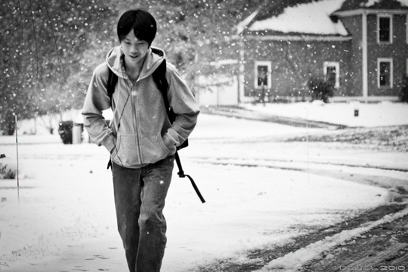 Day 140: Walk Home<br /> As I was pulling into the garage, I saw Alex walking up the driveway enjoying the first snow of the season.