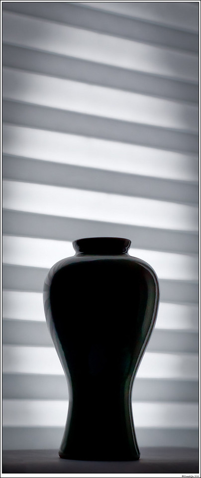 Day 63:  Of Contrast and Tension<br /> This photo was taken in the corner of my dining room in late afternoon.  It was raining outside so I didn't have much available light.  I set a vase against the white venetian blind in front of the dining room window.  My intention was to emphasize the curves of the vase in a silhouette against the light and dark stripes of the blind.  The photo was intentionally cropped with unusual amount of room on the top to emphasize the opposing stripes and create tension in the composition.  The photo was not desaturated or processed as a monochrome, but it appears that way due to the lack of ambient lighting.  The vase is actually deep green, almost jade in color.  In hindsight, I think if I had changed the perspective so that the stripes were either perfectly horizontal or at a steeper angle, it would have been a stronger image.