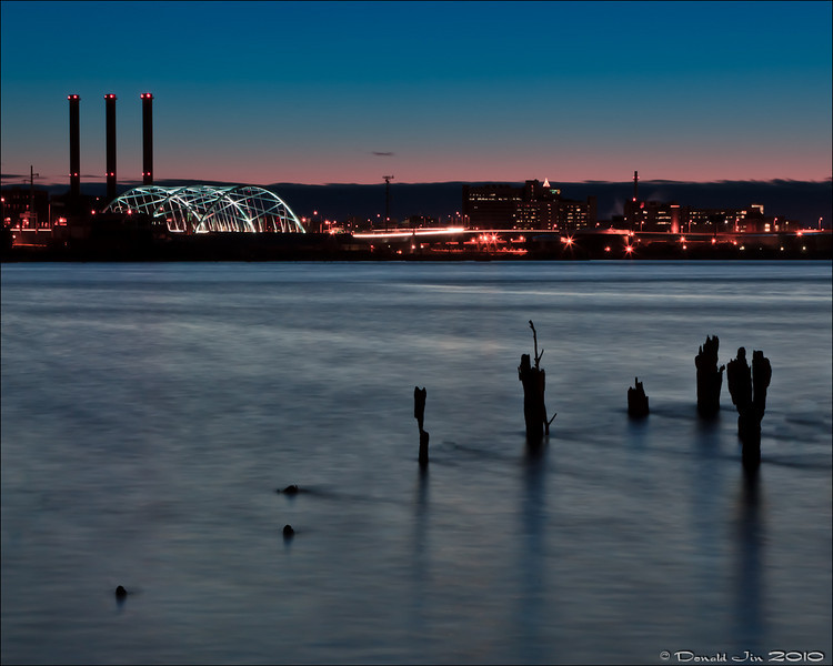 Day 122: Providence<br /> This is a view from the India Point Park in Providence.  Without a neutral density (ND) filter, I had to wait until it was dark enough so that the shutter can stay open longer without the image getting exposed.  Getting the exact effect I wanted for this image was a lot tougher than I thought.  I'm still not crazy about this image but I did come away with a good lesson on long exposures.