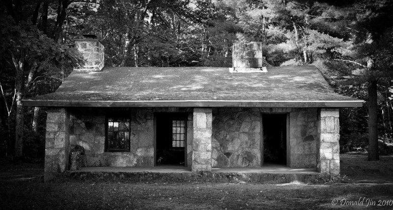"""Day 68:  Stone Cottage<br /> I'm fortunate enough to live about 2 miles away from the Borderland State Park, which borders between Sharon and Easton.  With its woodland trails and three ponds, the park provides scenic refuge for nature hikes, bike rides, fishing or just a nice place to walk your dog.  Most recently, this stone cottage located on the banks of one of the ponds was used as the location for Martin Scorsese's film """"Shutter Island"""" starring Leonardo DiCaprio.  The cottage is always open and can be used by anyone as a respite and a place to warm themselves, especially during cold winter hikes.  <br /> <br /> The scene where this cottage was featured in the film was in a flashback by Leonardo's character, where he recalls discovering his children dead and floating on the pond, just outside the cottage.  Unfortunatly, the unpleasant image from the movie is now etched in my head and brought to mind, whenever I walk along this path."""