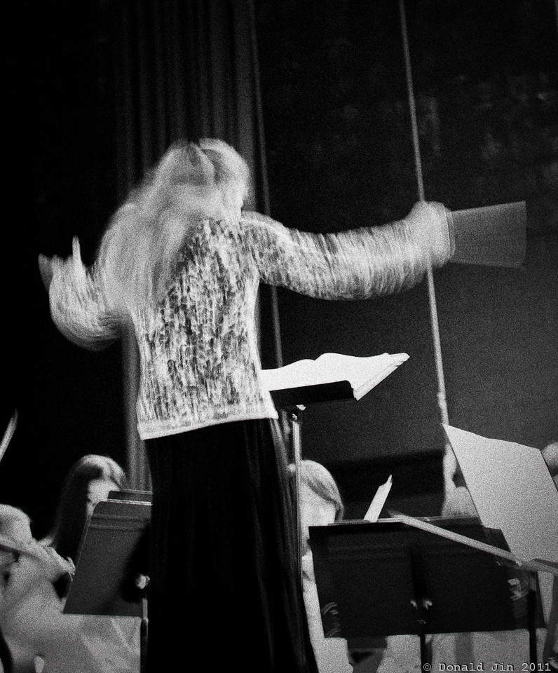Day 275:  Sound of Music<br /> Went to see Alex play at the SEMSBA (Southeastern Massachusetts Schools Bandmasters Association) concert today.  The orchestra was surprisingly good with excellent selection of music.  The low lighting kept my shutter speed at 1/5 sec. but I used that to my advantage to capture the excitement of the music.