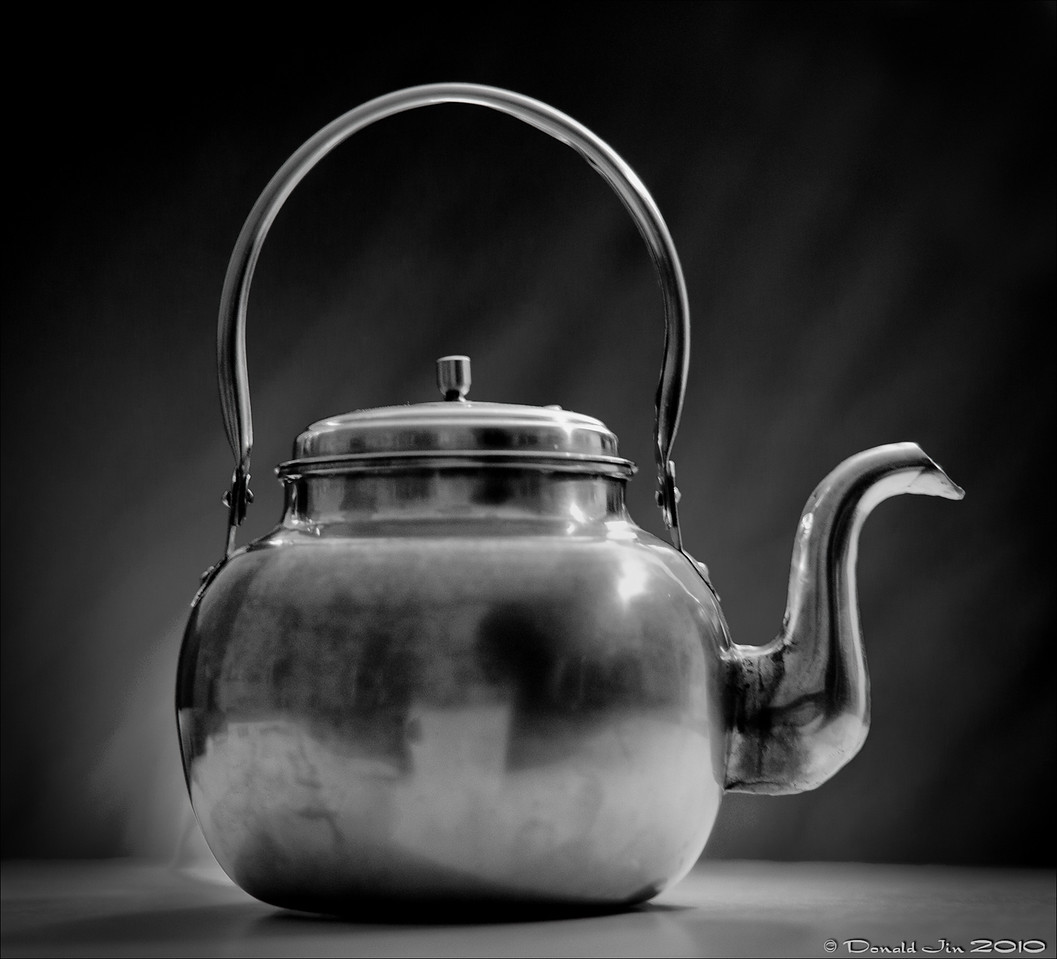 Day 103:  Limelight<br /> This kettle is about fifty or sixty years old.  For its age, it's in a terrific condition with no dings or rust.  After all its years of service, I thought it would be nice to bring it out on center stage and under the limelight.