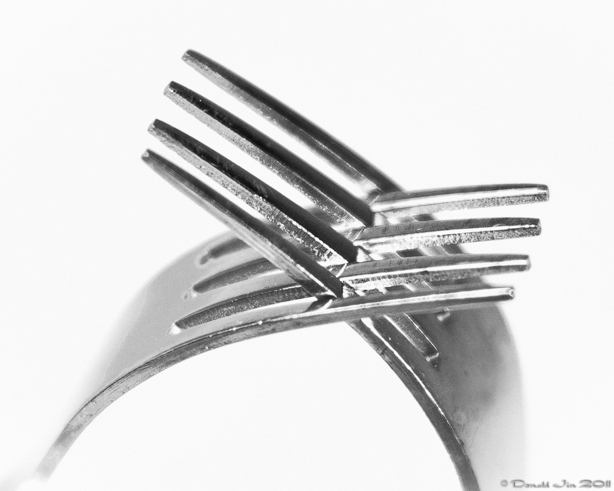 Day 177: The Tale of Two Forks<br /> This was inspired by a photo I saw in a magazine today.  This wasn't quite what I wanted but it's close enough and it's getting late.  No extension tube or close up lens here, just a 50mm f/1.4 cropped tightly.  Two light set up: one directly behind the subject to blowout the background and one to the camera right.