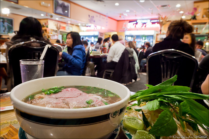 Day 107:  Pho So good <br /> I never liked Vietnamese food until my wife turned me on to this little gem tucked away in a strip mall in Randolph.  I've only tried just one dish here, the #20 - Vietnamese noodle soup with beef tenderloins.  It's so darn good, I'm afraid to try anything else.  I like to load up my soup with fresh cilantros, handful of bean sprouts and a squeeze of lime wedge.  Lastly, I give it a good squirt of the really hot and spicy red sauce they have at the table.  That's good eatn' right there.