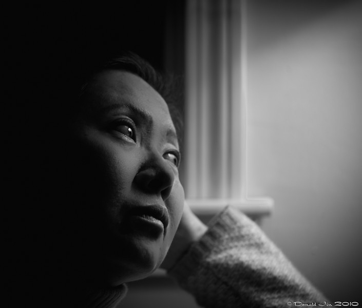 Day 133:  Contemplation<br /> A single fluorescent lamp placed slightly behind and above the model with a handheld diffuser was used to light this portrait.