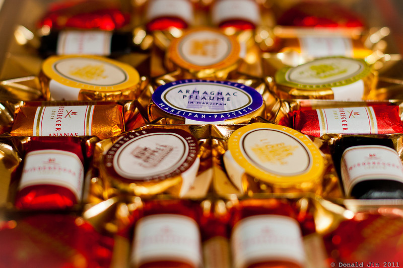 Day 326: Lübeck Marzipan<br /> I received a box of these confections from friends in Berlin.  This was my first time tasting it.  It has a wonderfully rich, nutty taste without being overly sweet. Each one has a slightly different flavor.  I can't read German so I'll have to try each one to appreciate them all.