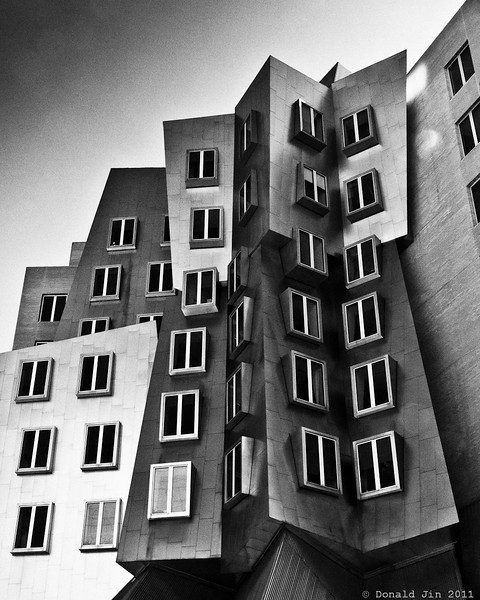 "Day 241: The Stata Center<br /> The Ray and Maria Stata Center is an academic complex designed by architect Frank Gehry for MIT.  Contained within the building are the Computer Science and AI Laboratory, the Laboratory for Information and Decision Systems, as well as the Department of Linguistics and Philosophy. <br /> <br /> Boston Globe architecture columnist Robert Campbell wrote ""the Stata is always going to look unfinished. It also looks as if it's about to collapse. Columns tilt at scary angles. Walls teeter, swerve, and collide in random curves and angles... Everything looks improvised, as if thrown up at the last moment. That's the point. The Stata's appearance is a metaphor for the freedom, daring, and creativity of the research that's supposed to occur inside it.""  There were also equal number of critics less enamoured of the structure citing among its many faults, the structure's insensitivity to the needs of its inhabitants."