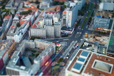 Aerial view of Alexanderplatz (right) and Karl-Liebknecht-Strasse from the TV Tower, Berlin, Germany. Tilted lens used for a shallower depth of field and to create, combined with the aerial view, a miniaturization effect.