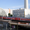 Regional train leaving Alexanderplatz station, Berlin, Germany. Tilted lens used for shallow depth of field.